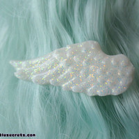Pastel Glittery White Angel Wing Hair Clips (Pair)