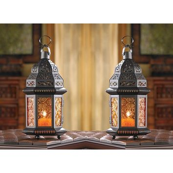 Set of 2 Amber Moroccan Candle Lanterns