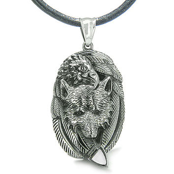Amulet Courage Wolf Eagle Unity Feathers White Cats Eye Arrowhead Leather Pendant Necklace