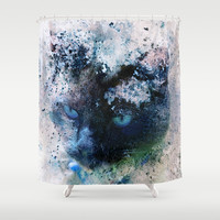 Behind Blue Eyes Shower Curtain by Theresa Campbell D'August Art