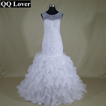 QQ Lover African Fashional Mermaid Wedding Dress  Full Beaded Vestido De Noiva Sereia Sheer Back and Neck Ruffles Ball Gown