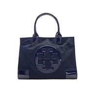 Tory Burch Ella Nylon Tote Patent Leather Bag Handbag French Navy Blue