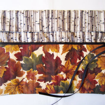 Pencil Roll/ Crochet Hook Case/ Cosmetic Brush Roll/  Arts and Crafts storage/ Autumn forest pattern