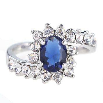 Flower Shape Fashion Pear Cut Crystal Ring for Women  Blue/Pink/Green/White CZ Zirconia Love Gifts Cocktail Party Jewelry
