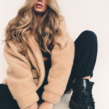 Oversized Teddy Coat | Tan