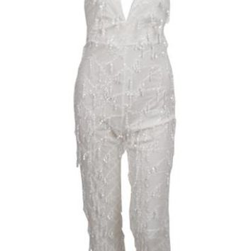 Clear Sights White Sequin Tassel Fringe Spaghetti Strap Sleeveless Plunge V Neck X Back Halter Jumpsuit