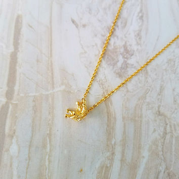 Crown Charm Necklace- 16k gold plated