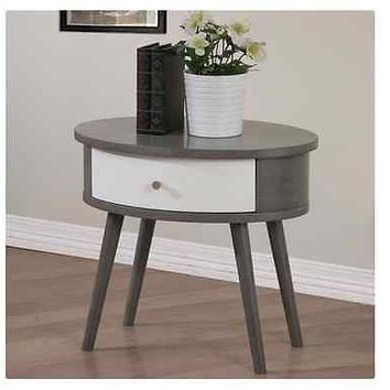 Nightstand Table Modern Gray White Oval Shaped 2 Tone Bedroom Drawer Side