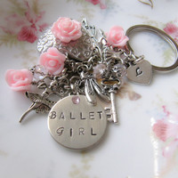 Ballet initial bag charm - Ballerina Keychain - Handmade - Childrens accessories - pink - teen girls - Europe