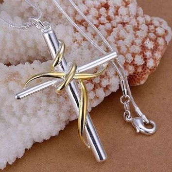 Sterling Silver Twisted Rope Cross Necklace