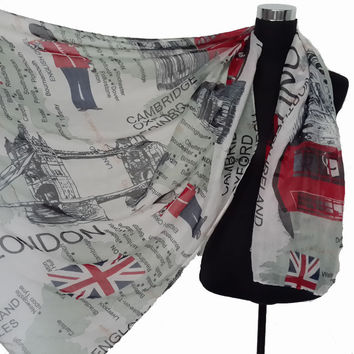 Fashion Souvenir London Scene Theme Union Jack UK Print Scarf Shawl Wrap 180cm*110cm, Free Shipping