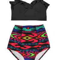Black Midkini Top and Tribal Tribute High waisted waist High-waist Highwaist Shorts Bottom Bikini Swimsuit Swim Bathing wear suit S M