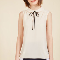 Feedback At It Sleeveless Top in Cream | Mod Retro Vintage Short Sleeve Shirts | ModCloth.com