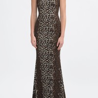 Animal Print Leopard Padded Shoulder Gown