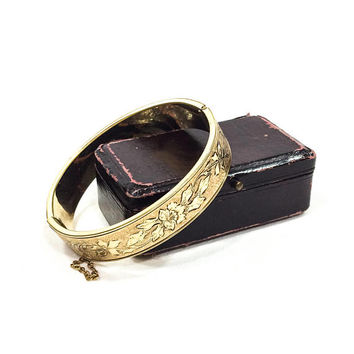 Antique Rose Gold Filled Bangle Bracelet, Black Taille d E'pargne Enamel, Binder Brothers,  Art Deco Jewelry, 1920s