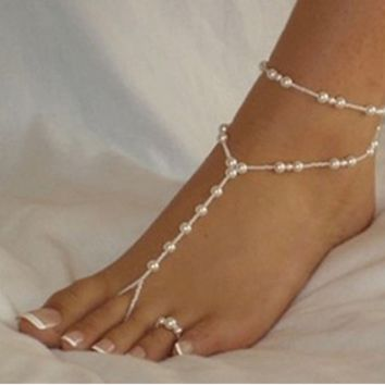 Fashion simple double deck beach footsteps pearl foot ring