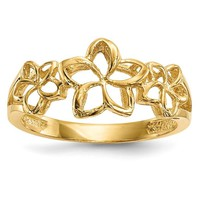 14k Yellow Gold Solid Polished 3 Plumeria Ring