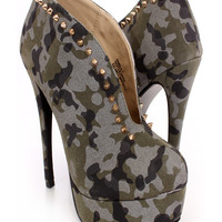 Camouflage Spike Studded Slit Booties Faux Suede