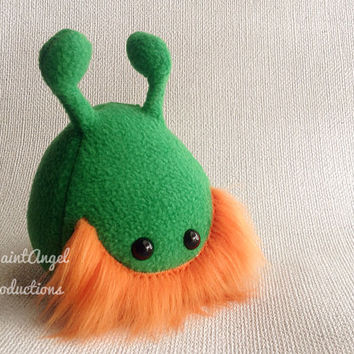 Green Stuffed Alien Plush with Orange Beard and Green Shamrock, Small St. Patrick's Day Plushie, READY TO SHIP