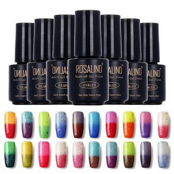 ROSALIND Black Bottle 7ML Temperature Changing chameleon T31-54 Gel Nail Polish Nail Art UV LED Nail Gel Polish Semi Permanent