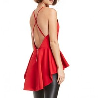 Cross Strap High Low Peplum Top