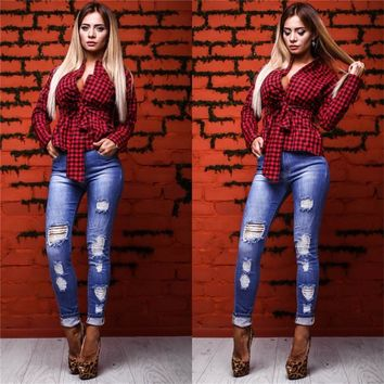 Spring Summer Women Blouses Fashion Plaid Sexy Blouse With Bow Long Sleeve Causal Elegant Cute Women Tops Shirts Blusas