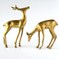 Vintage Brass Deer Pair Holiday Decor Hollywood Regency Doe and Buck
