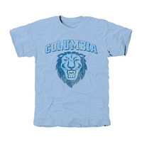Columbia University Lions Distressed Primary Tri-Blend T-Shirt - Blue