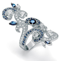 Vintage Inspired Marquise Created Sapphire and Clear CZ Long Knuckle Art Deco Armor Ring