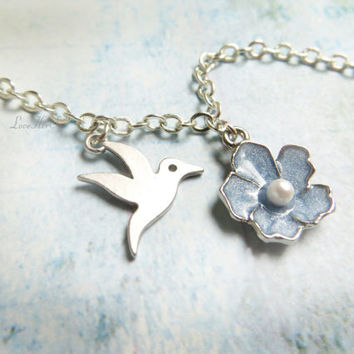 Silver Hummingbird Necklace Floral Bird Necklace Blue Enamel Flower Necklace