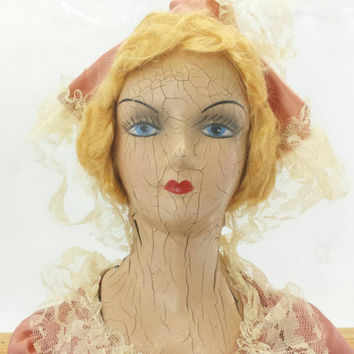 Antique Composition Boudoir Doll, Cloth Body, Distressed Chipped Cracked Creepy Old Dolls, Oddities Collectibles, 1920s Flapper Style