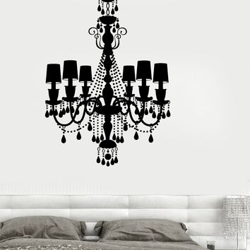 Wall Vinyl French Chandelier Romantic Bedroom Mural Unique Gift z3703