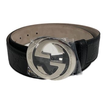 GUCCI Guccissima Leather Belt with Interlocking G buckle Size 85