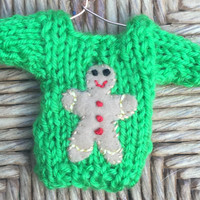 Custom-made Gingerbread Man Ornament on a Tiny Christmas Sweater, Ginger Bread Holiday Ornament, Stocking Stuffer for Kids, Homemade Xmas