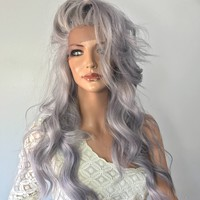 Grey human hair blend multi parting lace front wig 22'