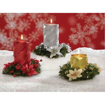 6 Gold And Silver Pillar Candles - Wax Weight: 17 Oz. Per Candle