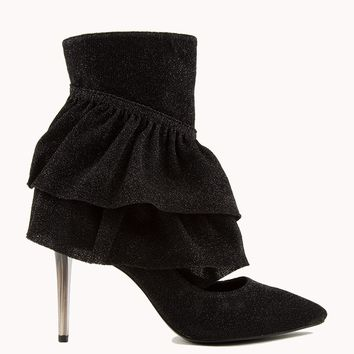 SPARKL RUFFLE POINTED TOE BOOTIES