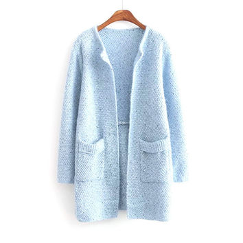 Autumn Winter Womens Casual Knit Sleeve Sweater Coat Cardigan Jacket Top Blouse [8422523137]