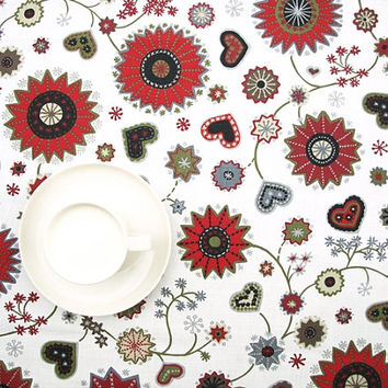 Christmas Tablecloth white red grey Christmas Flower and Hearts decor , napkins , table runner , curtains , pillows available, great GIFT