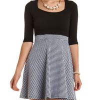 Houndstooth & Scuba Knit Skater Dress