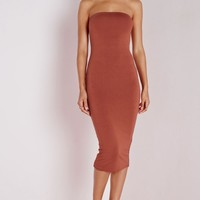 Missguided - Jersey Bandeau Midi Dress Rust