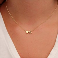 Tiny Dainty Heart Initial Personalized Initial Necklace Letter Necklace girlfriend gift