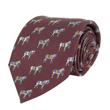 Gucci Men's Horse And Belt Print Dark Red Silk Tie 388148 6069