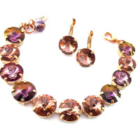 SHIMMERING SUNSET 12mm Swarovski crystal bracelet, necklace and/or earrings warm blush rose, Beautiful fall colors