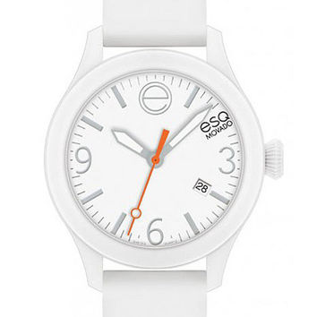 ESQ Movado One Ladies Strap Watch - White Dial, Case & Silicone Strap - Date