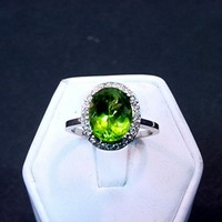 3.54 Carat 10 X 8mm. Natural Apple Green Peridot set in a 14k White gold ring with diamonds (.18ct) 0614