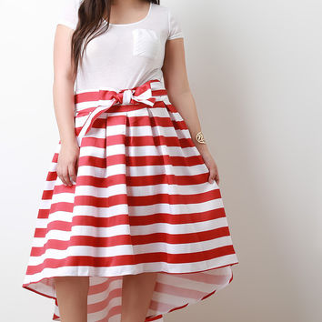 High Low Horizontal Stripe Pleated Skirt