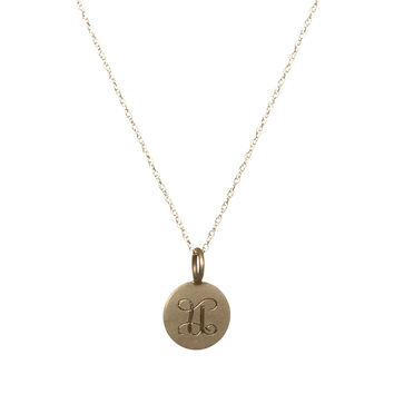 Small Gold Disc Necklace With Initial