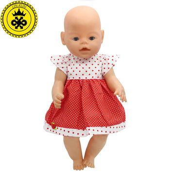 Fit 43cm Zapf Baby Born Doll Clothes White & Red Dot Floral Clothes Dress Christmas Gift Doll Accessories Fashion 211