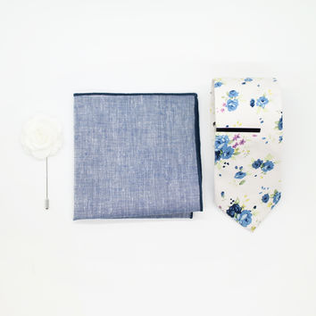 Blue Small Floral Set